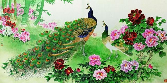 çiçekler ve tavus kuşu