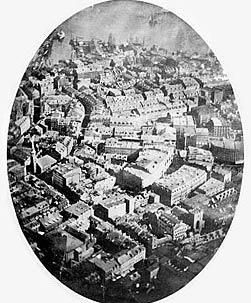 İlk kuş bakışı fotoğraf. Felix Tournachon balonla Paris semalarında.