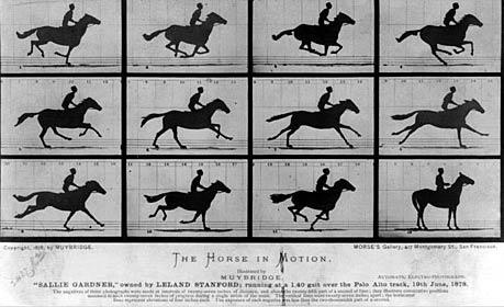 İlk aksiyon fotoğrafı. Fotoğrafçı Eadweard Muybridge, koşan bir atı 12 ayrı açıdan çekti.